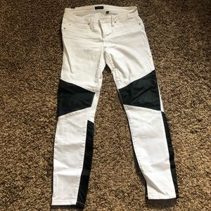 bebe White Black Faux Leather Patch Pants